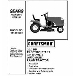 Manuel de pièces tracteur Craftsman 944.601090