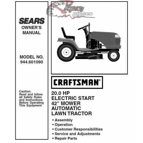 Craftsman Tractor Parts Manual 944.601090