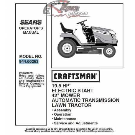 Craftsman Tractor Parts Manual 944.60263