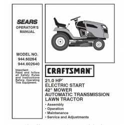 Manuel de pièces tracteur Craftsman 944.60264