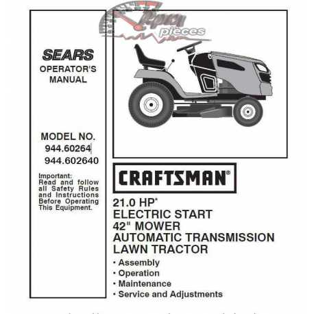 Craftsman Tractor Parts Manual 944.60264