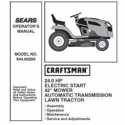 Manuel de pièces tracteur Craftsman 944.60260