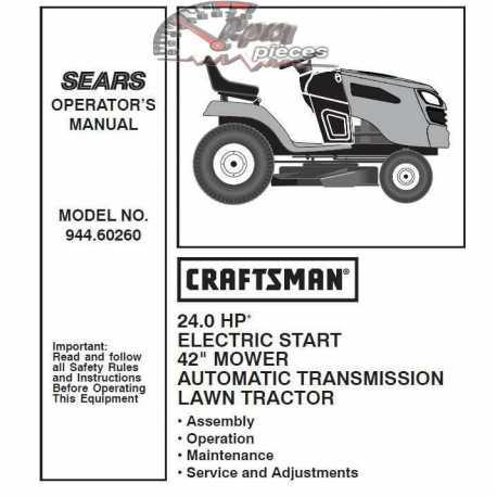 Craftsman Tractor Parts Manual 944.60260