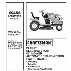 Craftsman Tractor Parts Manual 944.60267