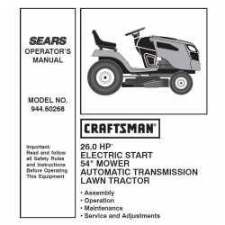 Manuel de pièces tracteur Craftsman 944.60268