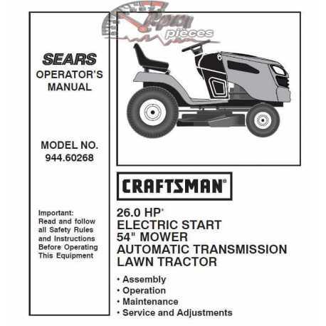 Craftsman Tractor Parts Manual 944.60268