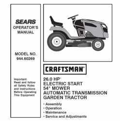Manuel de pièces tracteur Craftsman 944.60269