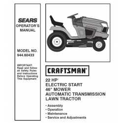 Manuel de pièces tracteur Craftsman 944.60433