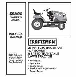 Manuel de pièces tracteur Craftsman 944.600010