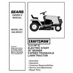 Craftsman Tractor Parts Manual 944.600031