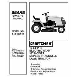 Manuel de pièces tracteur Craftsman 944.600031