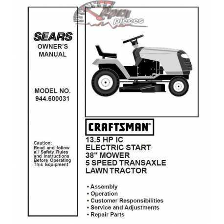Craftsman Tractor Parts Manual 944.600031