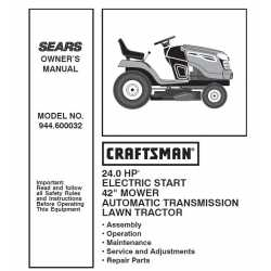Manuel de pièces tracteur Craftsman 944.600032