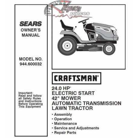 Craftsman Tractor Parts Manual 944.600032