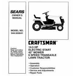 Manuel de pièces tracteur Craftsman 944.600041