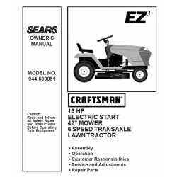 Craftsman Tractor Parts Manual 944.600051
