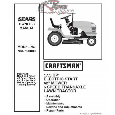 Craftsman Tractor Parts Manual 944.600080
