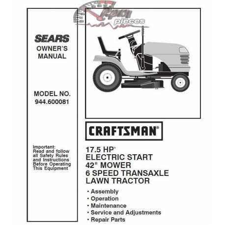 Craftsman Tractor Parts Manual 944.600081