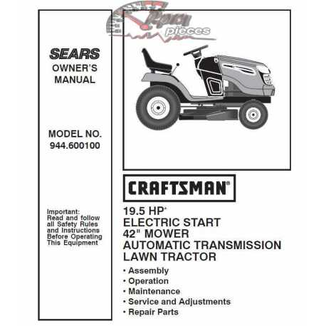 Craftsman Tractor Parts Manual 944.600100