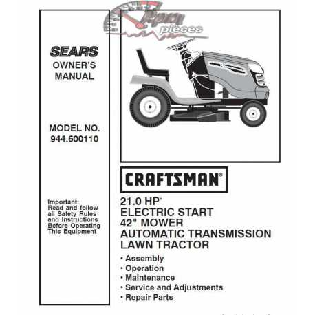 Craftsman Tractor Parts Manual 944.600110