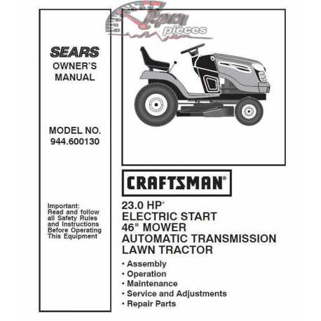 Craftsman Tractor Parts Manual 944.600130
