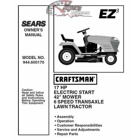 Craftsman Tractor Parts Manual 944.600170