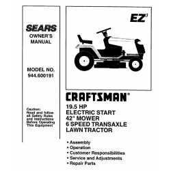Craftsman Tractor Parts Manual 944.600191