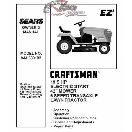 Craftsman Tractor Parts Manual 944.600192