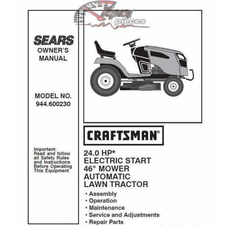 Craftsman Tractor Parts Manual 944.600230