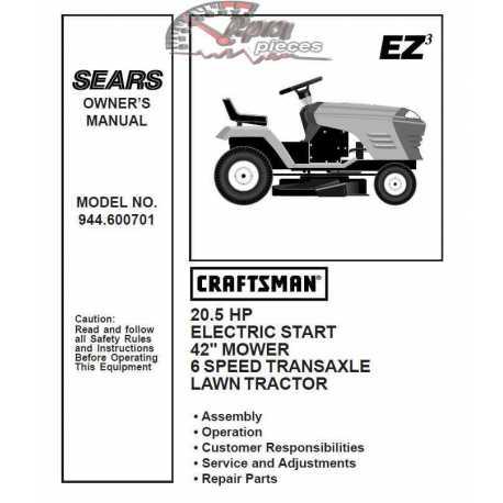 Craftsman Tractor Parts Manual 944.600701