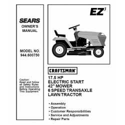 Craftsman Tractor Parts Manual 944.600750