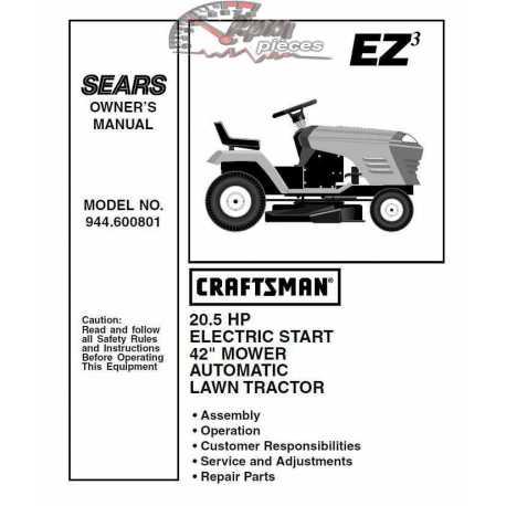 Craftsman Tractor Parts Manual 944.600801