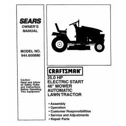 Craftsman Tractor Parts Manual 944.600880