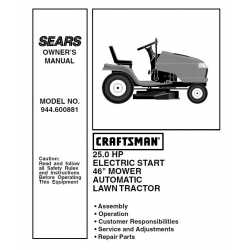 Craftsman Tractor Parts Manual 944.600881
