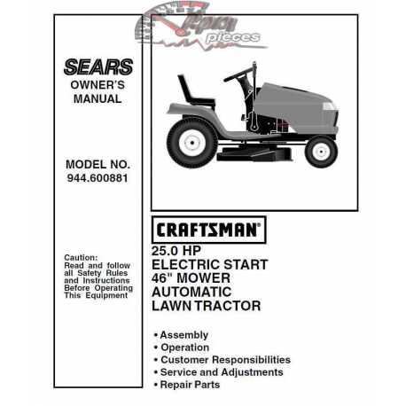 Craftsman Tractor Parts Manual 944.600881