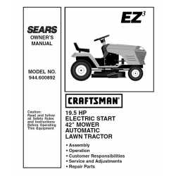 Craftsman Tractor Parts Manual 944.600892