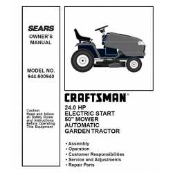 Craftsman Tractor Parts Manual 944.600940