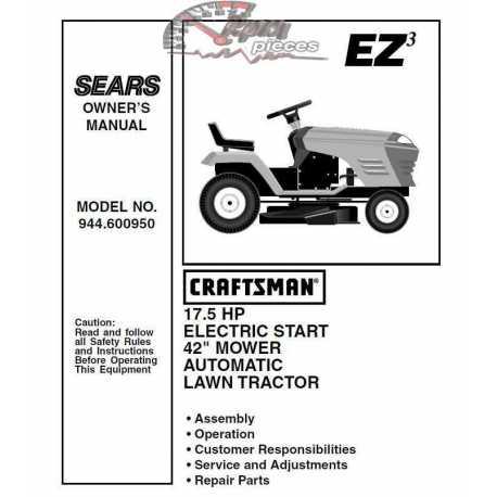 Craftsman Tractor Parts Manual 944.600950
