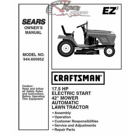 Craftsman Tractor Parts Manual 944.600952