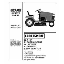 Craftsman Tractor Parts Manual 944.601002