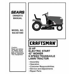 Craftsman Tractor Parts Manual 944.601080