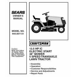 Craftsman Tractor Parts Manual 944.601131