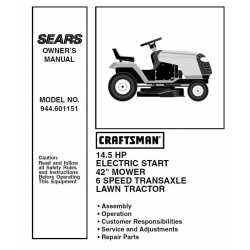 Craftsman Tractor Parts Manual 944.601151
