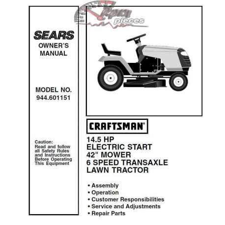 Craftsman Tractor Parts Manual 944.601151
