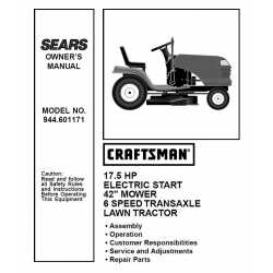 Craftsman Tractor Parts Manual 944.601171