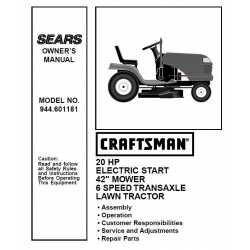 Craftsman Tractor Parts Manual 944.601181