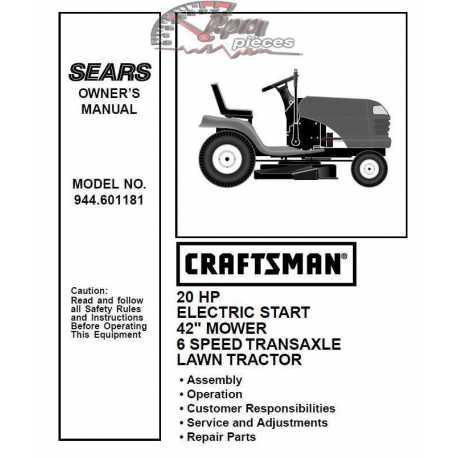 Craftsman Tractor Parts Manual 944.601181