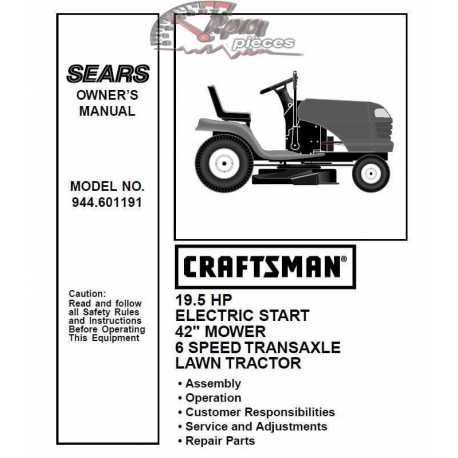Craftsman Tractor Parts Manual 944.601191