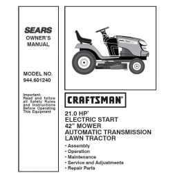 Craftsman Tractor Parts Manual 944.601240