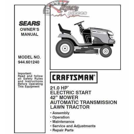 Craftsman Tractor Parts Manual 944.601240